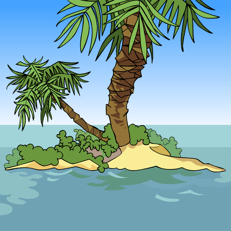 small cartoon island with two palm trees