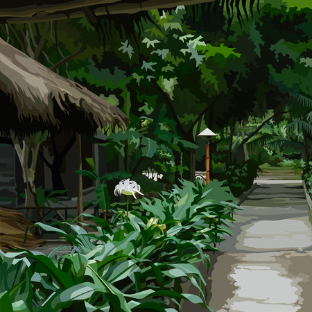 beautiful place with buildings in a tropical dense vegetation