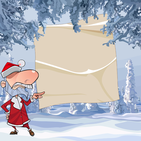 Cartoon angry Santa Claus points with his finger on an empty sheet in a winter forest Illustration
