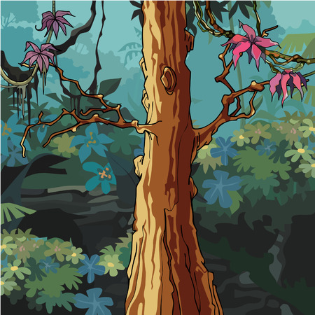 cartoon forest with big tree with pink leaves