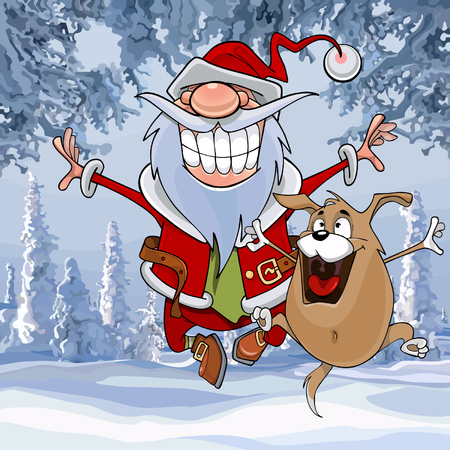 cartoon Santa Claus happily bounces along with a dog in the winter forest