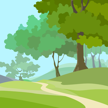 cartoon summer background with green trees and path