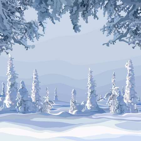 Winter forest with snow-covered fur-trees during the day Illustration