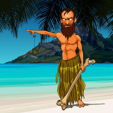 cartoon wild angry man living on a desert island