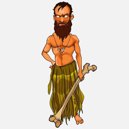 cartoon wild male Islander with a large bone in hand