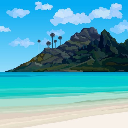 tropical coastline with blue water and a mountain with palm trees