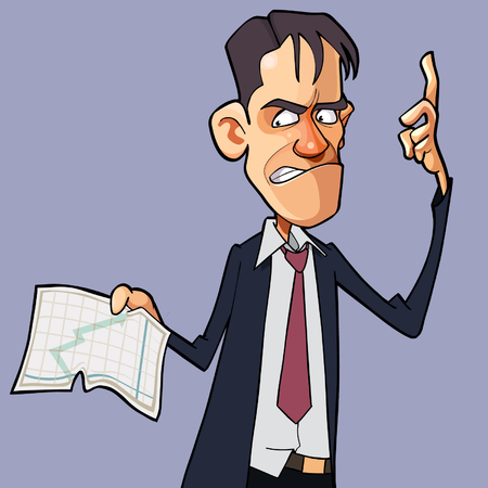 cartoon angry man shows a graph on a sheet of paper