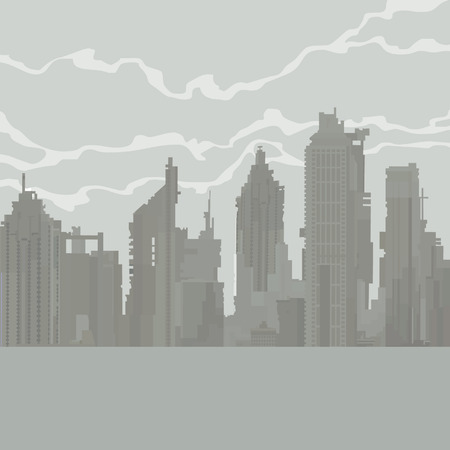 cartoon gray city of dilapidated skyscrapers in the fog Illustration