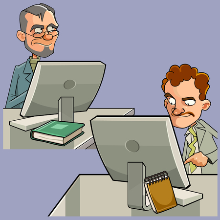 cartoon of two men sitting at computer work tables