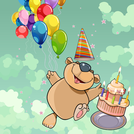 Cartoon happy bear with cake and balloons