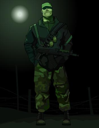 cartoon man in uniform Illustration
