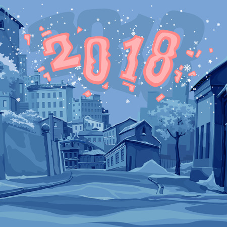 Cartoon illustration of an old town street in winter with 2018 lettering Illustration