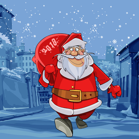 Cartoon Santa Claus walking on winter street with a bag vector illustration 向量圖像