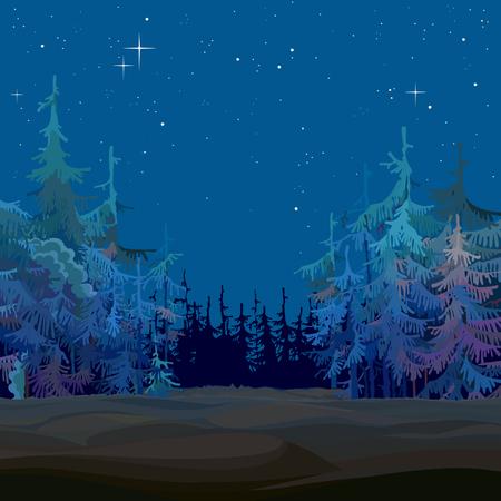 Cartoon sprookje fir bos sterrenhemel blauw 's nachts