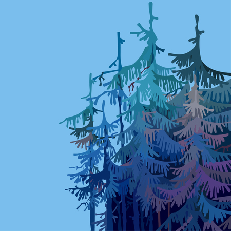 Cartoonish forest of trees in shades of blue.