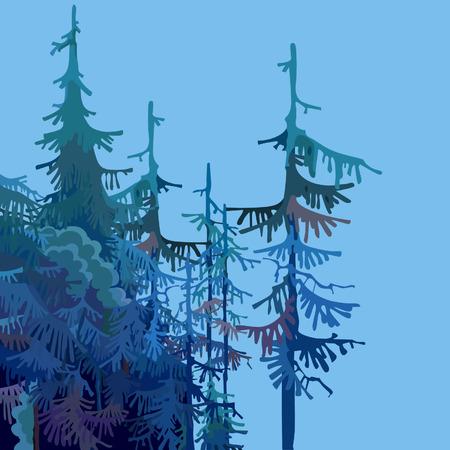 Een deel van een cartoonbos met sparren in blauwgroene tonen