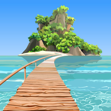 cartoon tropical island with a mountain and a pier in turquoise sea