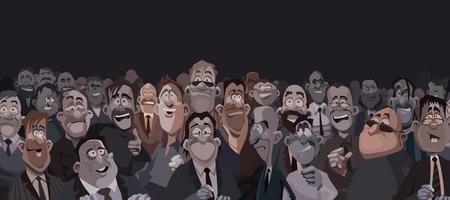 Large crowd of funny cartoon people in dark room.