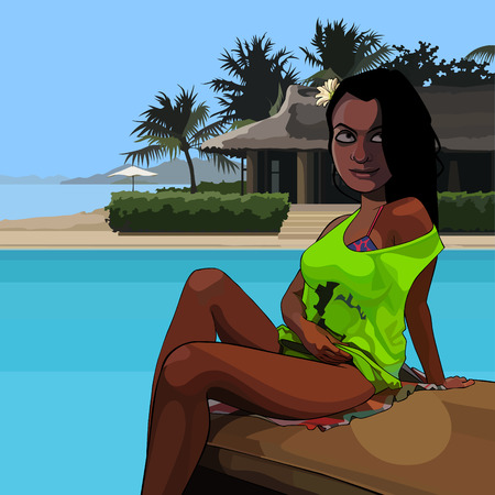 Cartoon attractive tanned woman sitting poolside in the tropics