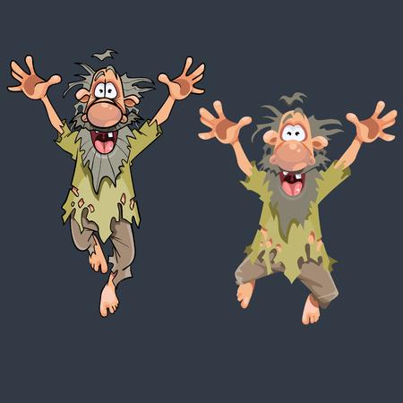 Kreskówka zabawny człowiek w obdartych ubraniach, skoki w różnych pozach.