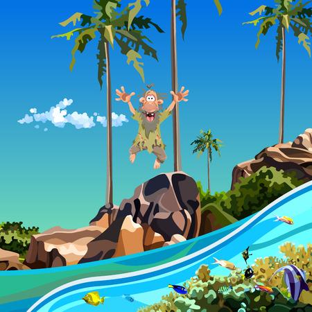 Cartoon funny man jumping into the sea near tropical island Illustration