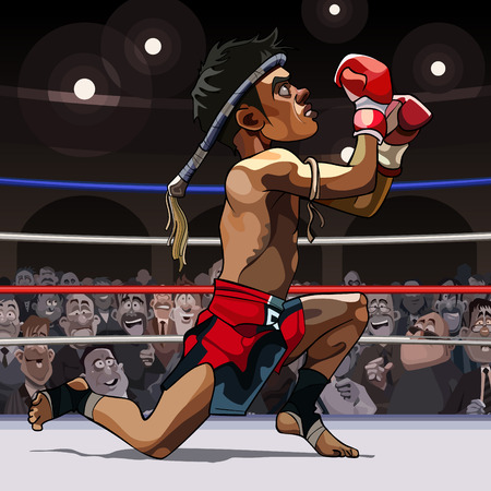 Cartoon man muay Thai fighter got on one knee in the ring