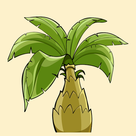 Cartoon palm tree with thick trunk illustration.