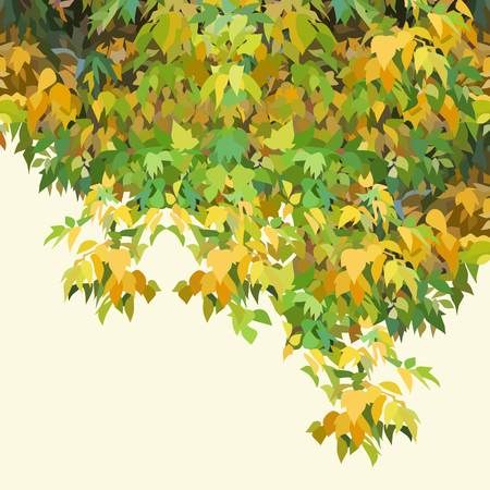Background painted autumn yellow and green dense foliage. 向量圖像