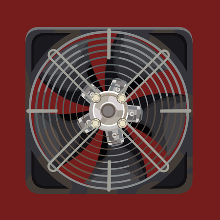 Gray cooling system fan behind metal bars on red background. Illustration