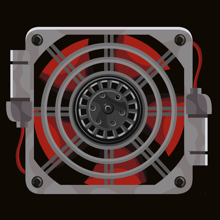 Red cooling system fan behind gray metal grille on black background.