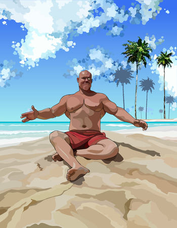 A satisfied muscular man having fun on beach