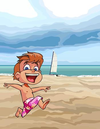 Cartoon joyful boy running along the sandy beach.
