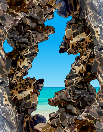 View of the turquoise sea through the decorative rocks.