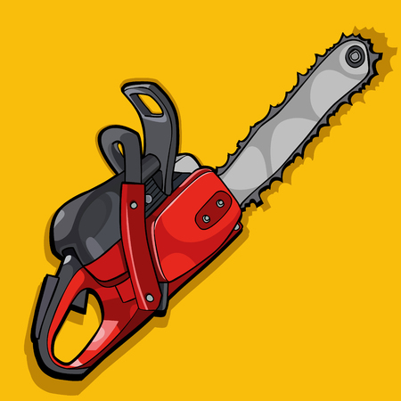 cartoon curve of a chainsaw on yellow background