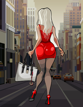 Cartoon beautiful woman in red dress walking through the city Illustration