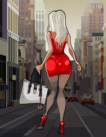 Dessin animé belle femme en robe rouge se promenant dans la ville Vecteurs