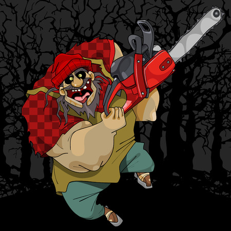 cartoon terrible and cheerful man with chainsaw in the woods