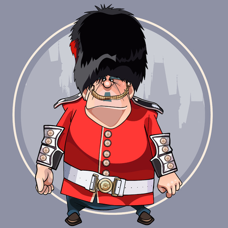 cartoon angry man in the clothes of soldier of the Royal guard