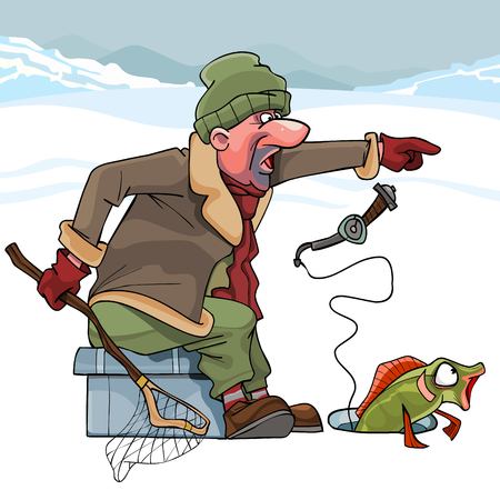 Cartoon cunning fisherman catches fish in winter cheating on her. Stock Illustratie