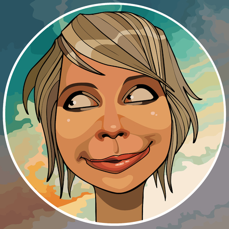 cartoon funny smiling woman looks askance in a circle