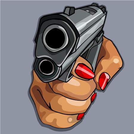 cartoon womens hand with red manicure holding gun 向量圖像