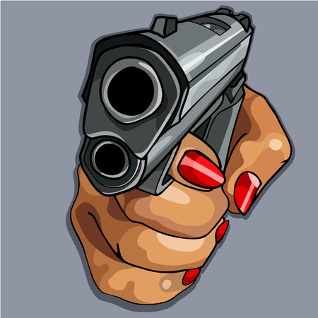 cartoon womens hand with red manicure holding gun Illustration