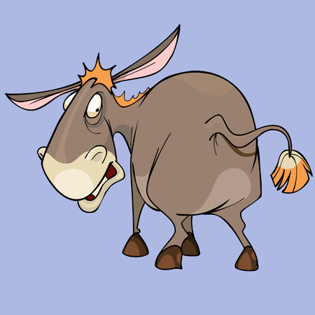 A cartoon funny character puzzled red donkey looking around