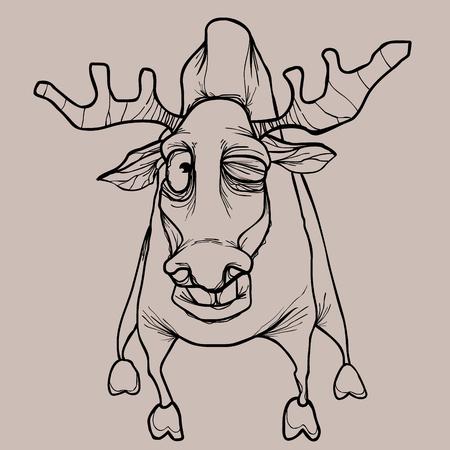 Cartoon horned dried elk winks in pencil drawing in monochrome colors