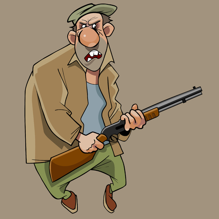 Cartoon angry funny man with gun in his hands illustration. Illustration