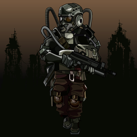 Cartoon soldier of the apocalypse in a protective suit with gun. Illustration