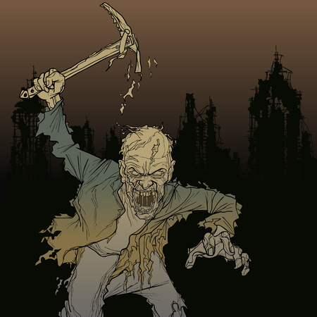Cartoon zombie man with pick in his hand in the ruins of the city.
