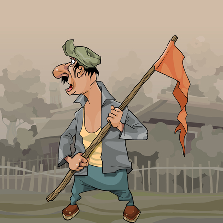 cartoon man with flag on stick looks back in village Vector illustration.