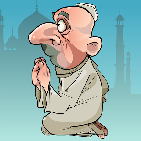 cartoon Muslim man praying while sitting on his lap on a temple background. Vector illustration.
