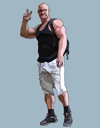 cartoon funny muscular man with a backpack showing gesture two fingers